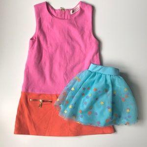 Lot 2 Dress & Skirt Size 2-3T Stars Teal